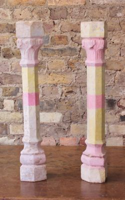 Small Sandstone Pillars with faded pale pink & lemon paint (pair) <b>SOLD<b>